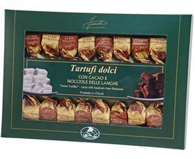 Tartufi Dolci Bianchi E Neri - Scatola Verde Con Finestra 45223 Inaudi 230 Grammi